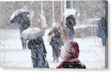 Canvas Print featuring the digital art First Snow by Gun Legler