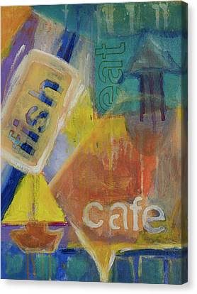 Canvas Print featuring the painting Fish Cafe by Susan Stone