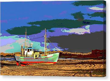 Sun Rays Canvas Print - Fishing Boat by Charles Shoup