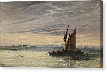 Fishing Boats In Shallow Waters At Sunset Canvas Print by Arthur Joseph