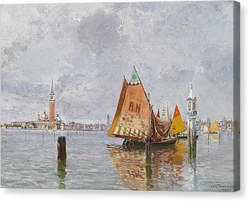 Fishing Boats In The Lagoon Of Venice Canvas Print by Carlo Brancaccio