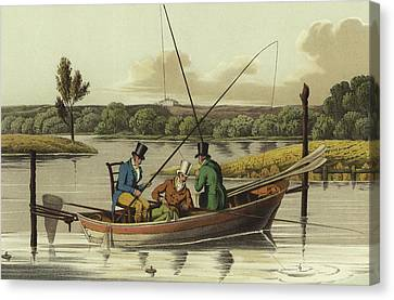 Fishing In A Punt  Canvas Print by Henry Thomas Alken
