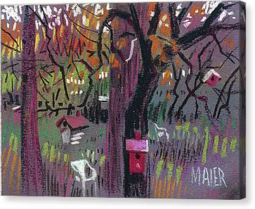 Five Birdhouses Canvas Print by Donald Maier