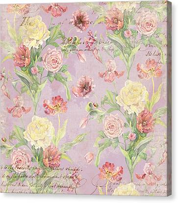 Patina Canvas Print - Fleurs De Pivoine - Watercolor In A French Vintage Wallpaper Style by Audrey Jeanne Roberts