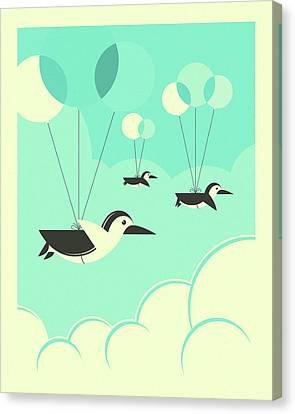 Flock Of Penguins Canvas Print by Jazzberry Blue