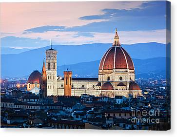 Florence, Italy Sunset Skyline. Cathedral Of Saint Mary Of The Flowers Canvas Print by Michal Bednarek
