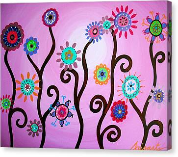 Flower Fest Canvas Print by Pristine Cartera Turkus