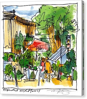 Flower Market Paris Canvas Print by Marilyn MacGregor
