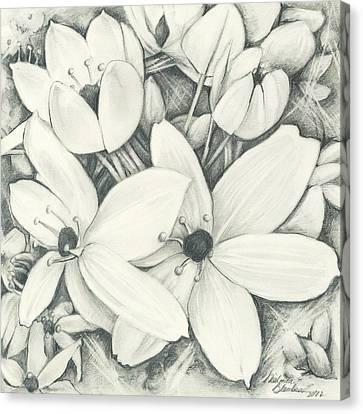 Flowers Pencil Canvas Print