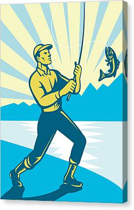 Fly Fisherman Fishing Retro Woodcut Canvas Print by Aloysius Patrimonio