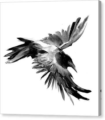 Flying Raven Canvas Print by Suren Nersisyan