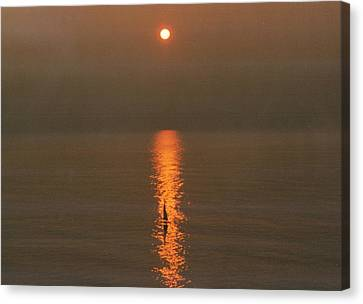 Foggy Sunrise On Virginia Beach Canvas Print