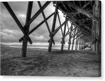 Folly Beach Pier Black And White Canvas Print by Dustin K Ryan