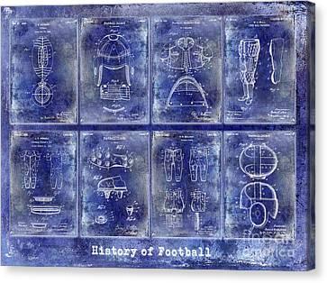 Miami Canvas Print - Football Patent History Blue by Jon Neidert