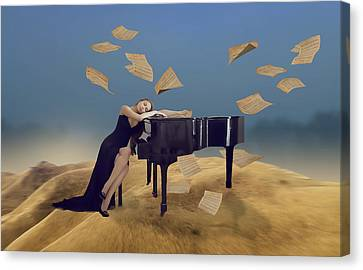 Canvas Print featuring the mixed media For The Love Of Music by Marvin Blaine