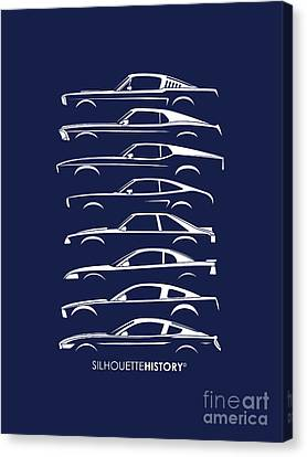 Ford Mustang Canvas Print - Ford Mustang Silhouettehistory by Gabor Vida