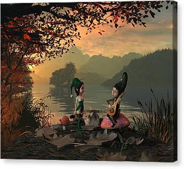 Forest Elves A Sunset Canvas Print by John Junek