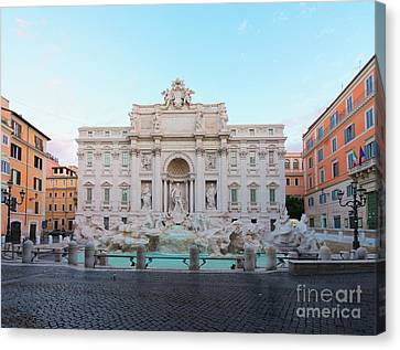 Fountain Di Trevi And Sunrise, Rome Canvas Print
