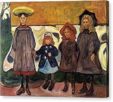 Four Girls In Asgardstrand Canvas Print by Edvard Munch