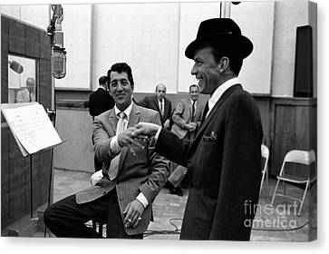 Frank Sinatra And Dean Martin At Capitol Records Studios 1958. Canvas Print by The Titanic Project