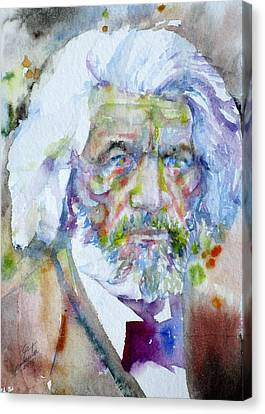 Frederick Douglass - Watercolor Portrait Canvas Print