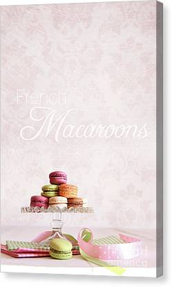 French Macaroons On Dessert Tray Canvas Print