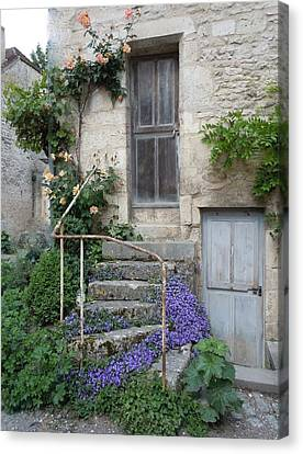 French Staircase With Flowers Canvas Print