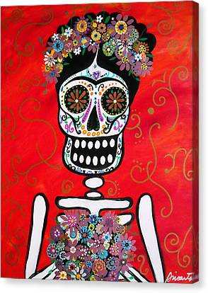 Canvas Print featuring the painting Frida Dia De Los Muertos by Pristine Cartera Turkus