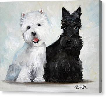 Scottish Dog Canvas Print - Friends by Mary Sparrow