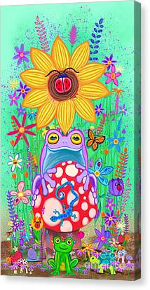Canvas Print - Frogs And Flowers by Nick Gustafson