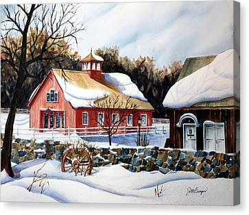 From The Green In Winter Canvas Print by Joseph Burger