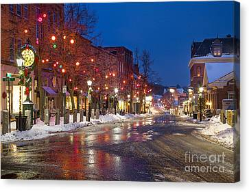 Front Street Holiday Lights Canvas Print by Benjamin Williamson