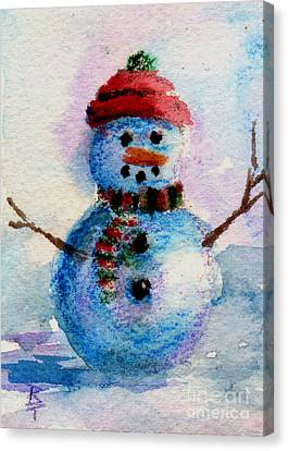 Canvas Print featuring the painting Frosty Aceo by Brenda Thour