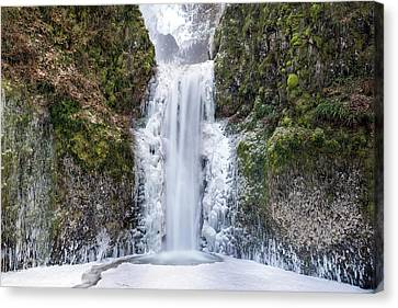 Frozen At Multnomah Falls Canvas Print by David Gn