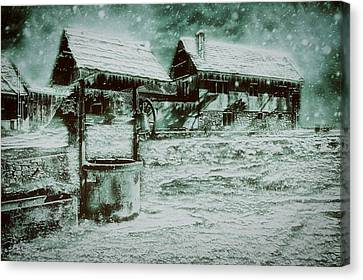 Hdr Landscape Canvas Print - Frozen Farm by Ractapopulous