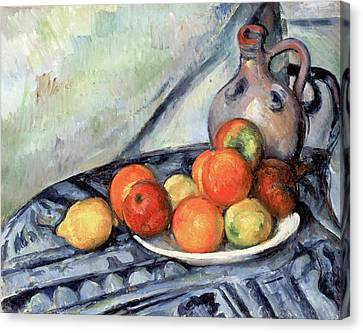 Fruit And A Jug On A Table Canvas Print by Paul Cezanne