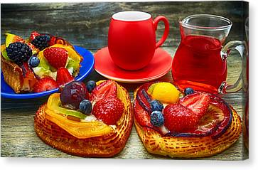 Fruit Desserts And Cup Of Coffee Canvas Print