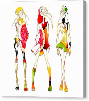 Fashion Model Canvas Print - Fruit Salad Fashion by Marvin Blaine