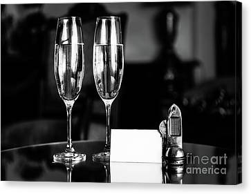 Wine Service Canvas Print - Full Champagne Glasses, Antique Keys And Blank White Card. Luxury Hotel Apartment by Michal Bednarek