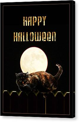 Full Moon Cat Canvas Print