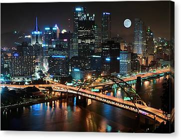 Full Moon Over Pittsburgh Canvas Print by Frozen in Time Fine Art Photography