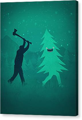 Father Christmas Canvas Print - Funny Cartoon Christmas Tree Is Chased By Lumberjack Run Forrest Run by Philipp Rietz