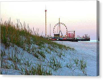 Funtown Pier From The Dunes Of Seaside Park Nj Canvas Print by Bob Cuthbert
