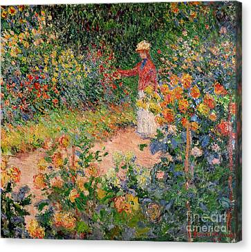 Country Cottage Canvas Print - Garden At Giverny by Claude Monet
