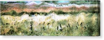 Geese In Grass Canvas Print
