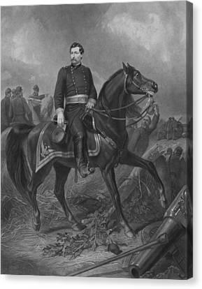 Warishellstore Canvas Print - General George Mcclellan On Horseback by War Is Hell Store
