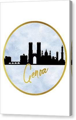 Genoa Canvas Print - Genoa Skyline-blue by Erzebet S