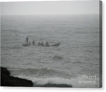Canvas Print featuring the photograph Ghana Fishermen by Erik Falkensteen