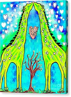 Heart Canvas Print - Giraffe Kisses by Eloise Schneider