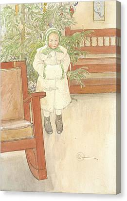 Girl And Rocking Chair Canvas Print